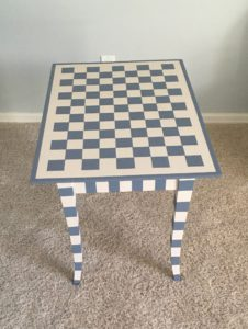 Gray and White Checked Side Table
